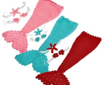 Newborn Mermaid Crochet Photography Prop Outfit (Blue/Pink/Red)