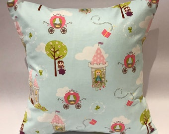 Fairytale cushion, fairytale castle cushion, princess cushion, princess pillow, girls princess pillow, girls pillow, nursery cushion