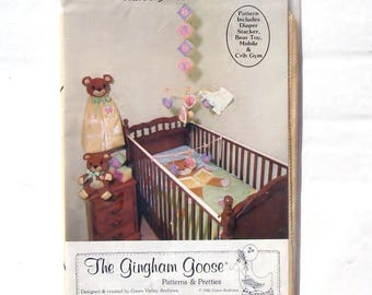 Vintage 80's Teddy Bear Nursery Accessories Pattern by The Gingham Goose - UNCUT - Diaper Stacker, Mobile, Crib Gym, Bear Toy and ABC Blocks