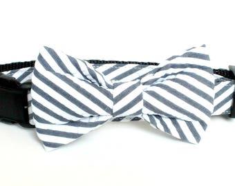 Navy Seersucker Wide Stripe Dog Bow Tie ONLY, pet bow tie, collar bow tie, wedding bow tie