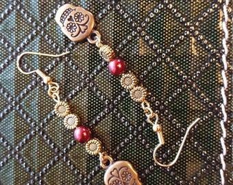 Day of the Dead Dangle Earrings,  Sunflowers, Purple Pearl Bead