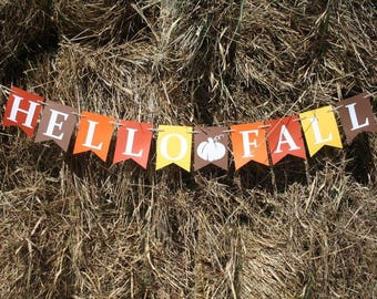 HELLO FALL BANNER - Fall Banner - Fall signs - Fall decorations - Thanksgiving banner - Thanksgiving sign – Thanksgiving decor