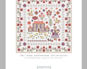 CROSS STITCH KIT Lavender House Sampler by Riverdrift House