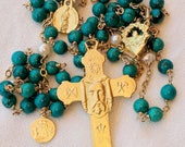 Rosary - Turquoise Holy Face - Marie-Madeleine & Saintes-Maries - 18K Gold Vermeil