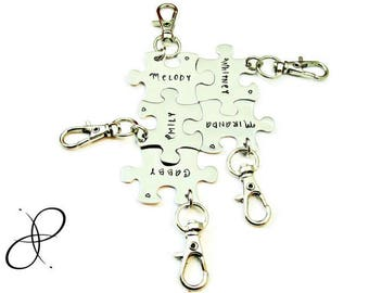 Personalized Hand Stamped Puzzle Piece Key Clips | Connecting Pieces | BFF | Wedding Party | Family | Best Friends | Group Gift | Fitted