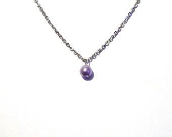 single pearl necklace, light purple pearl necklace, bead necklace, bridesmaid necklace, floating pearl necklace, necklace, chain necklace