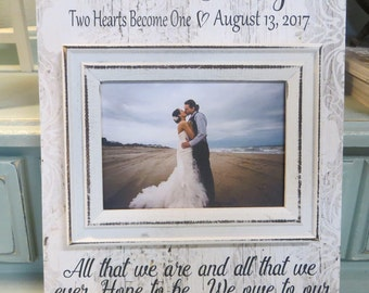 """Wood Wedding Frame, """"All that we are, and all that we ever Hope to be... We owe to our Loving Parents"""", Personalized Wedding Frame"""