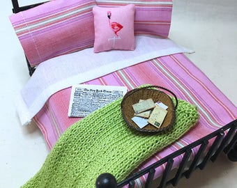 Miniature Dollhouse Duvet Bedding Set - Pretty Stripes in Pink -Queen/Double