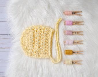 Baby Bonnet, Crochet Baby Bonnet, Knit Baby Bonnet, Newborn Baby Bonnet, Yellow Baby Bonnet, Custom Crochet Bonnet, Baby Girl Gift, Bonnet