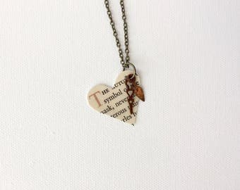 Heart Necklace, Steampunk Clock Hands, Recycled Book Page Pendant, Upcycled Vintage Books Jewelry, Gift for Bookworm