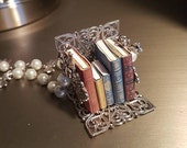 Antique Fable Miniature Book Necklace - Silver Pearl