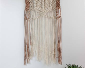 "SAMPLE SALE | Macrame Wall Hanging ""Cotton Field"" - 100% coton rope & natural branche of coton"