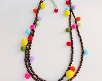 Hippie Chic Necklace, Pom Pom Necklace, Long Pom Pom Necklace, summer necklace, Hippie Necklace, Hippie chic choker, Wooden Necklace, boho