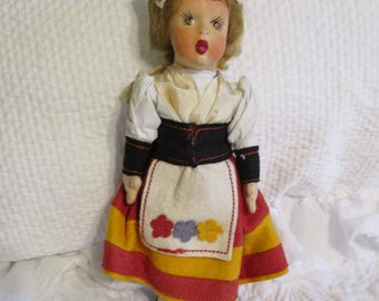 Vintage Italian Cloth and Paper Mache Doll Hand Painted