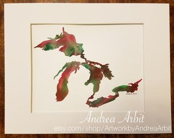 "8""x10"" Original Watercolor Painting - ""The Great Lakes in Pink & Green"""
