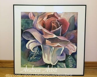 Rose-Lily Hybrid - Framed Watercolor Painting