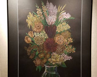 Race Bouquet (Stronger Together) - Framed 24x30 Colored Pencil Drawing