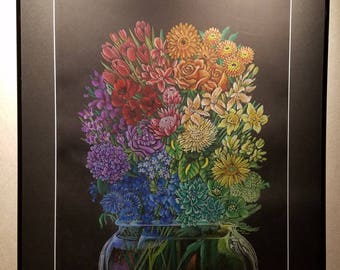 Sexuality Bouquet (Stronger Together) - Framed 24x30 Colored Pencil Drawing