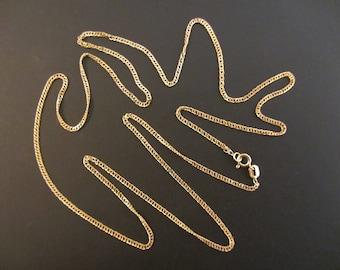 "Fancy 14k Solid Gold Delicate Diamond Cut Curb Chain - 24""x 1.45mm - 2.03g"