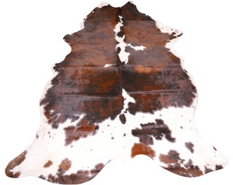 cheap 2nd grade tricolor cowhide rug size 7 x 6 cowhide with repairs discounted cow