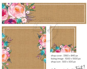 DIY Shop Cover, Watercolor Etsy Banner Set, Burlap and Floral Cover Design, Add your own text, Instant Download, Quick and easy branding