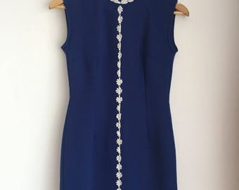 1960s Blue Daisy Crimplene Mod Shift Dress XS