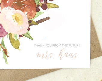 Just Engaged. Bridal Shower Thank You Cards. Thank You From Future Mrs. Blank Cards floral. Wedding Shower Thank You Notes.