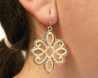 Gold Dangle Earrings / Tribal Style Gold Earrings.