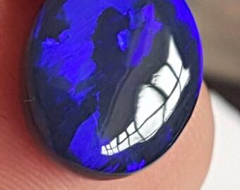 10 x 13mm 4.8ct Blue Genuine Lightning Ridge Black Opal Oval Cabochon