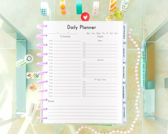 DAILY PLANNER Printable Letter Size 8.5 x 11 Big Happy Planner Daily Agenda, PDF Time Planner, To Do Water Checklist. Instant Download