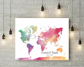 Wedding Travel World Map Guest Book | Push Pin World Map | Wedding Sign | Valentines Day Gift | For Couple | Custom Canvas - 47977B