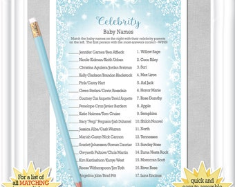 Instant Download CELEBRITY BABY Name Game With An Icy Blue Background And Snowflakes