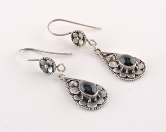 Sterling Silver And Black Onyx Teardrop Dangle Earrings