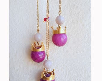 Jade necklace, Long Boho necklace, Gemstone necklace, Crown pendant necklace, Purple, Gold necklace, Cute necklace, Fantasy, Colorful,Trendy