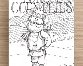 Yukon Cornelius - Christmas, Prospector, Winter, Line Drawing, Cartoon, Ink Drawing, Sketch, Black and White, Art, Pen and Ink, 5x7, 8x10