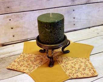 Candle Mat, Mug Rug, Table Topper, Fall Table Decor, Quilted Trivet, Hot Pad, Fall Decor, Small Placemat, Quilted Star Mat, Table Doily, Pad