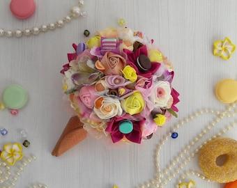 Lollipop wedding bouquet. ice cream wedding bouquet. candy brooch bouquet. ice cream wedding. Lollipop bride bouquet. polymer clay bouquet