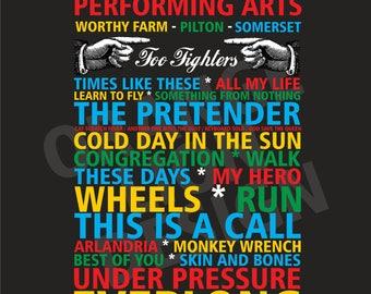 Canvas -  Foo Fighters - Glastonbury Festival - Saturday 24th June 2017 - Set List - All Tour Dates Available - Set List Canvas