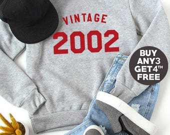 Vintage Sweatshirt 16th birthday gift sweatshirt graphic tee pullover sweatshirt crewneck sweater birthday 2002 sweatshirt women sweater men