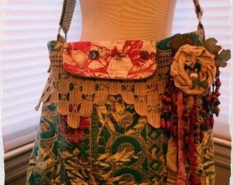 Gypsy Boho Cross-Body 8117 with Fabric Flower Corsage