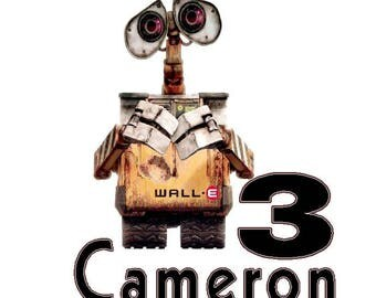 Wall - E Custom T shirt Iron on Fabric Transfer personalized iron on Transfer put on tees- pillow -totes