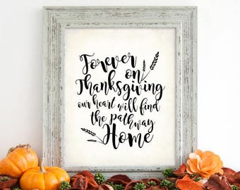 """Thanksgiving November Decor Sign. Our Hearts will Find Home Sign, DIGITAL PRINTABLE File Only, 8x10"""" Holiday Decor Sign"""