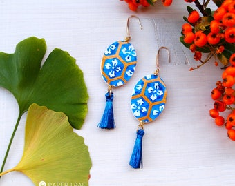 Dangling japanese paper earrings JAPANESE BLUE, oval earrings with japanese traditional pattern, painted paper earrings with tassels