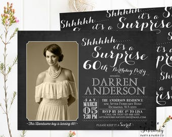 ANY AGE // Surprise Birthday Invitation, Adult Birthday Invitations, Women Men Birthday Invite Printable OR Printed No.450BDAY