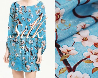 Cherry Blossom Sky Blue Silk Crepe fabric by the yard