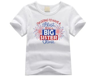 Personalized big sister shirt. Big sister fireworks tshirt. Fireworks pregnancy announcement shirt. Custom blast big sister shirt.