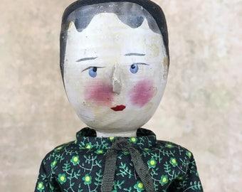 Vintage wooden doll, carved wood doll, peg wooden doll, Grodner Tal style doll