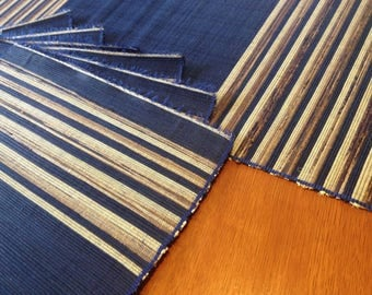 Hand Woven Sisal Table Runner & Six (6) Place-mat Set - Blue/Brown