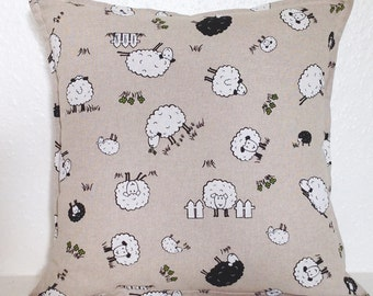 "Cushion Cover, Sheep Cushion Cover 16"" 18"" 20"", Scatter Cushion, Sheep Cushion, Pillow Case, Black Sheep, White Sheep, Sheep Pillow Case"