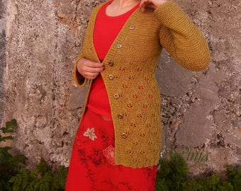 Knitted cardigan, green mustard cardigan, lace long sleeve cardigan, openwork handknit cardigan, cotton cardigan, boho clothing, knit jacket